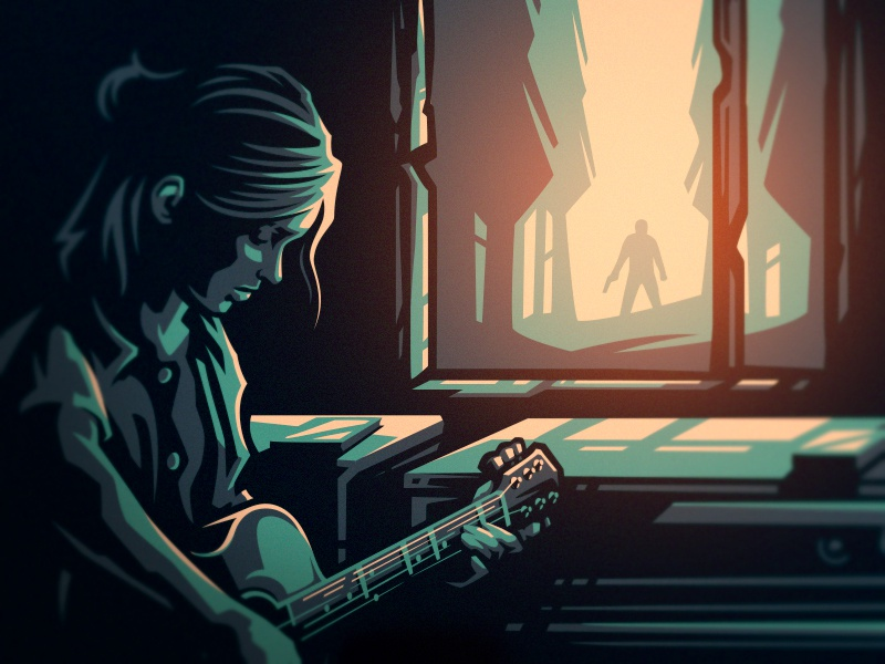 Ellie's song naughty dog vector girl forest guitar ellie last of us hiwow dlanid illustration