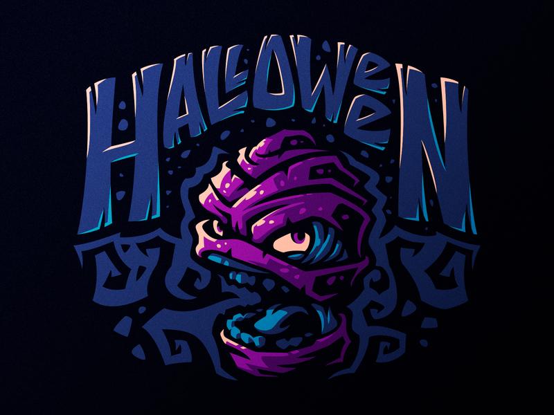 Mummy mascot zombie tomb spooky mummy halloween hiwow illustration design dlanid logotype branding identity logo