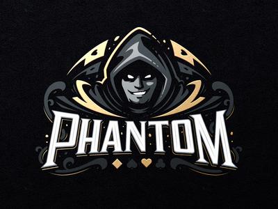 Phantom card poker hiwow illustration design dlanid sport logotype branding identity mascot sports logo smirk hood