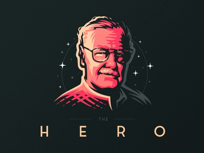 The Hero mark badge fanart portrait stanlee stan lee lee stan marvel dlanid design illustration branding identity logo