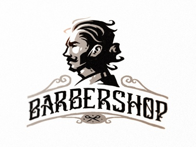 Barbershop sketch illustraion symbol logo mark mark badge logo badge brutal beard men typography sketch barbershop vintage barber illustration dlanid logotype branding identity logo
