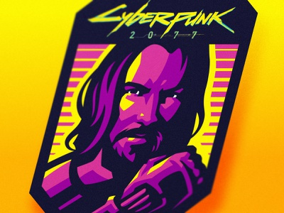 Cyberpunk 2077 esports logo art artwork fanart vector hiwow 2077 cyborg robot logotype keanu reeves cyberpunk illustration dlanid branding logo