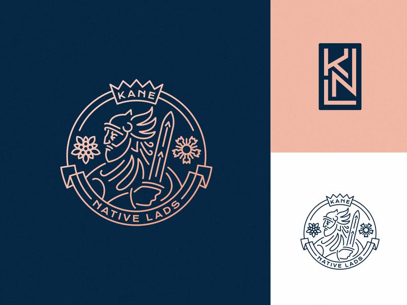 Kane Native Lads football soccer vintage lineart hiwow identity sports logo warrior dlanid sports mark branding badge logo