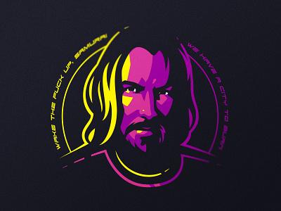 Samurai game sport john wick keanu reeves 2077 cyberpunk mark badge tshirt sports vector gaming design esports illustration dlanid identity branding logo samurai