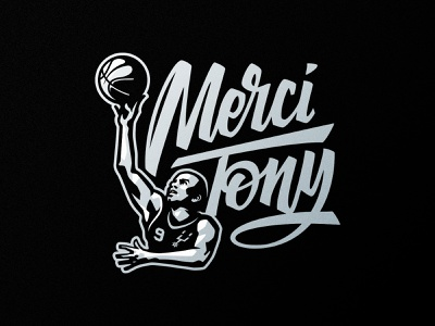 Merci Tony logo design merci tony mercitony sports logo badge logotype identity branding sports logo basketball spurs nba tony parker