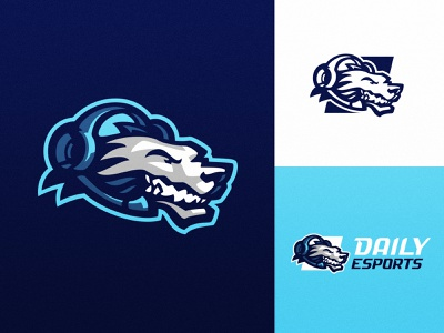 Daily Esports logo dog gaming headset wolf logo wolf badge sports badge esports logo sports logo esports sport illustration dlanid logotype mascot identity branding sports logo