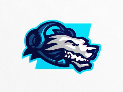 Daily Esports headset angry dog wolf badge design logo mark mark badge esports logo sports logo esports sport illustration dlanid logotype mascot identity branding sports logo