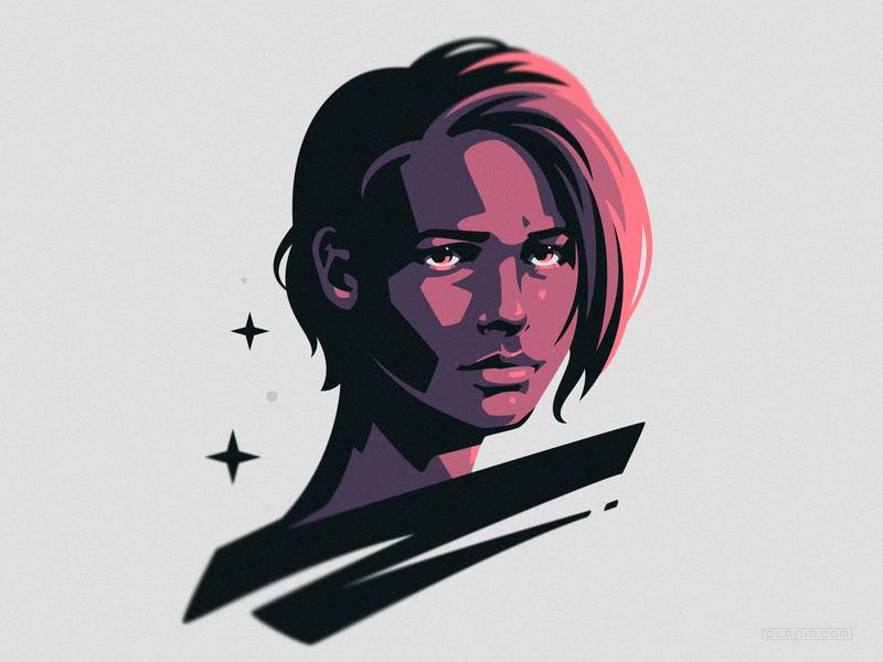 Jill Valentine gaming resident evil poster girl portrait art illustration dlanid identity logo