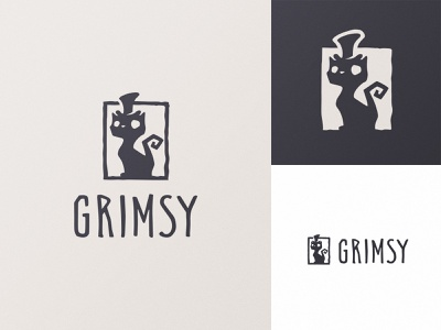Grimsy cat logo produsction film branding badge logotype identity movie logo cat