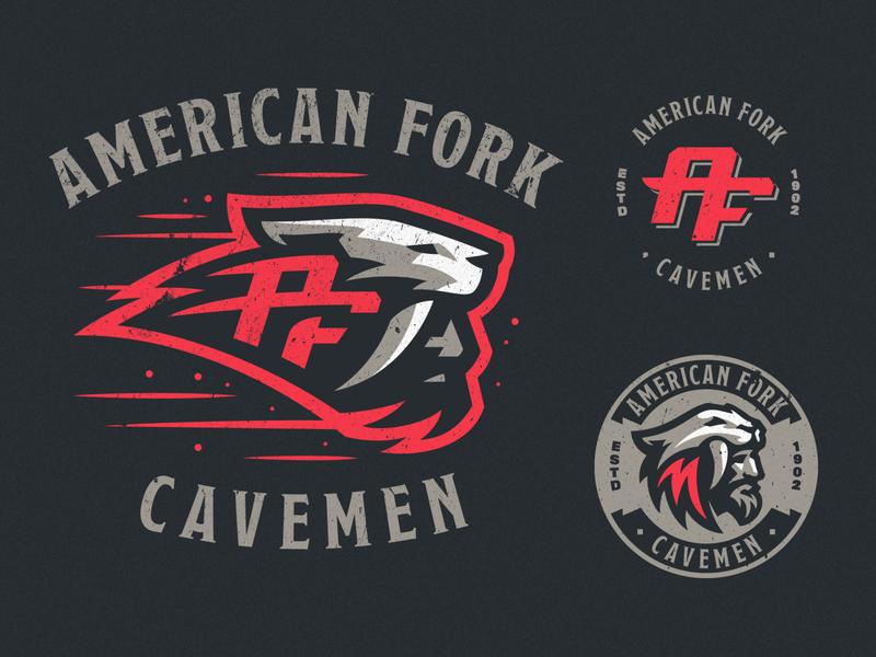 American Fork wild cavemen sport mascot logotype logo illustration identity icon sports dlanid branding