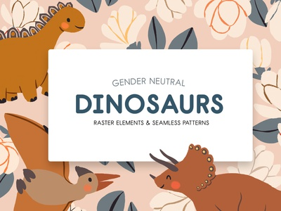 Gender Neutral Dinosaurs Graphics genderneutral prehistoric drawing artwork painting hand-drawn psd png elements home decor nursery baby kids children clipart graphics dinosaurus flowers dinosaurs illustration