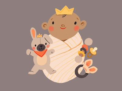 Precious Little Prince baby illustration newborn baby shower welcome to the world kids illustration birth nursery kids childrens illustration children