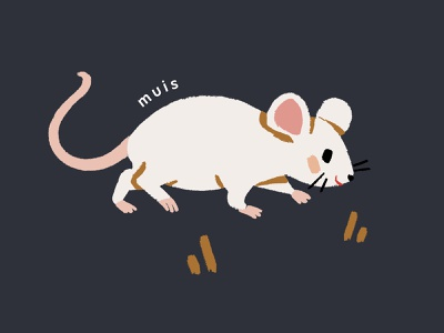 Dieren Alfabet - Muis blue and white pink blue dieren small mouse tiny mouse cute mouse animal clipart animal icons animal icon animal art animal illustrations animal illustration souris mouse muis illustration kids children childrens illustration