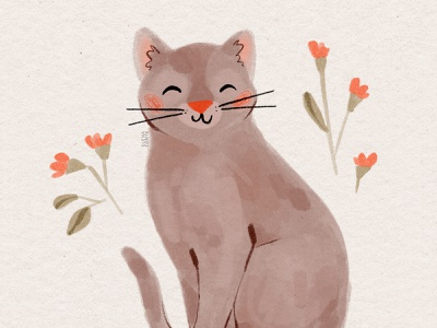 Grey Cat cat and flowers kitten traditional media organic colored pencil gouache gouache painting purple cat grey cat cute cat painting cat art cute cat art cat painting kitten illustration cat illustration