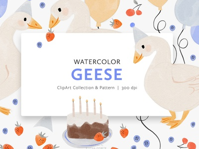 Watercolor Geese Clip Art & Pattern Collection goose pattern bird pattern children pattern kids pattern summer pattern spring pattern pattern clipart watercolor painting gouache painting watercolour watercolor bird illustration baby nursery kids children kids illustration childrens illustration birthday party