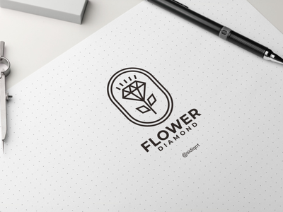diamond flower branding clean art graphic design typography illustration minimal logo icon design