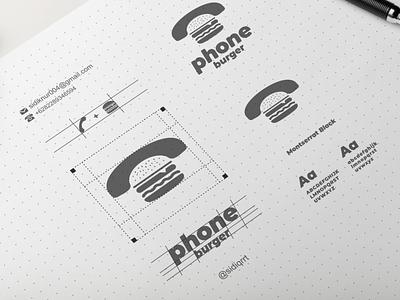 phone burger graphic design typography illustration minimal logo icon design
