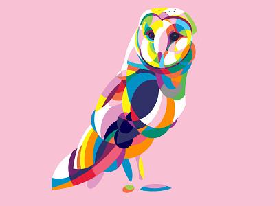 Colorful Tyto Alba Owl colorful art vectorart illustration pet portrait pet portrait illustration portrait art vector illustration vector art vector animal illustration animal art owl illustration animal owl