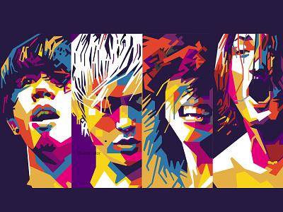 ONE OK ROCK japanese japan portrait illustration portrait colorful vector illustration vector art wpap band rock jrock one ok rock