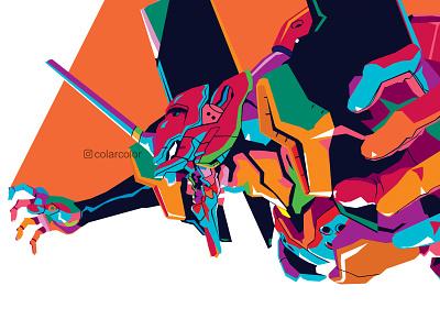Evangelion in WPAP Pop Art japan japanese robot mecha vector art vector illustration vectorart colorful art popart wpap mangaart manga animeart anime eva01 evangelion