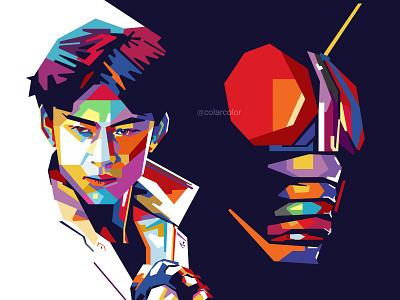 Kotaro Minami X Kamen Rider Black vectorart portrait art portrait illustration colorful art japanese japan vector illustration vector art pop art portrait pop art popart wpap tokusatsu kamen rider black kamen rider kotaro minami