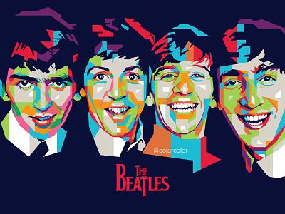 The Beatles in WPAP Pop Art band pop art portrait music popart vectorart portrait art wpap portrait illustration colorful art vector illustration vector art the beatles