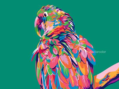 Colorful Parrot animal illustration animal art animal popart illustration pop art portrait portrait art portrait illustration colorful art vector illustration vector art vectorart wpap parrot logo parrots parrot