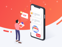 Getting VIP dots man figure gradient red ui 3d illustration iphonex iphone vip