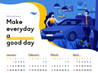 Make everyday a good day! travel graphic blue and yellow yellow garage car people figure illustration gradient blue design calendar 2019 calendar