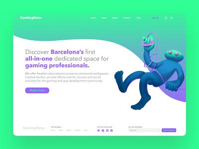 Gaming Nou - Landing Page lettering ui creativecloud 3dwebsitedesign illustration characterdesign graphic design barcelona uidesign webdesign landingpage