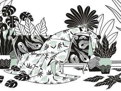 tapiz diva comic illustration pattern