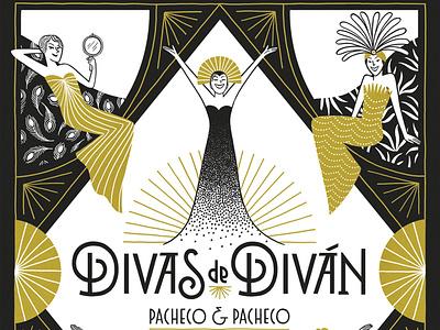 Divas de diván book cover comic illustration
