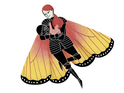 butterfly winged comic illustration