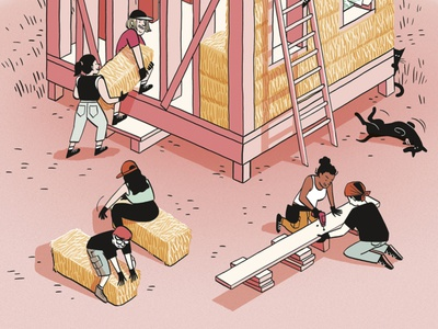 Casas de paja comic illustration editorial editorial illustration