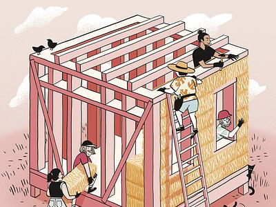 Casas de paja editorial illustration editorial comic illustration