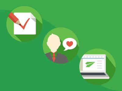 Megaplan promo icons flat crm laptop task illustration icons product love green user saas promo