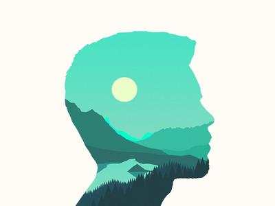 Debut self portrait profile head landscape vector
