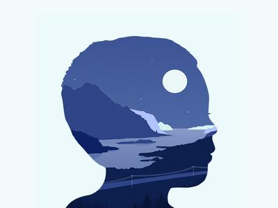 Sleety vector landscape self portrait profile head