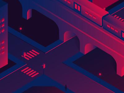 03 Data Exposure train building city illustration