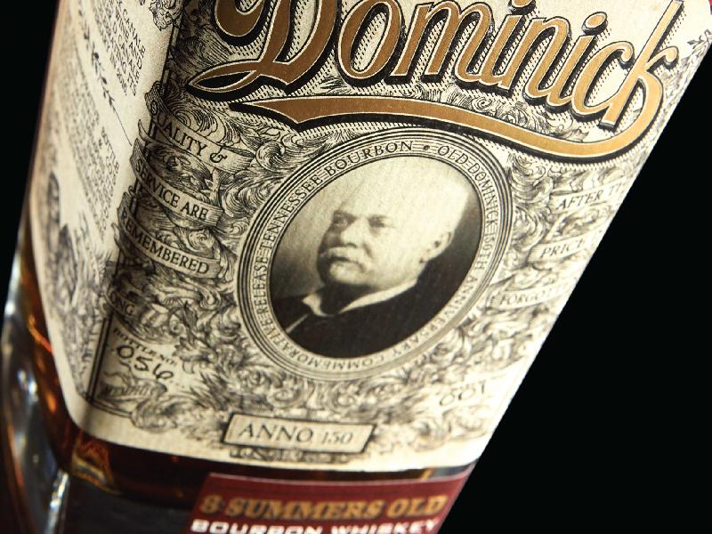 Ol Dom prohibition illustration packaging design whiskey