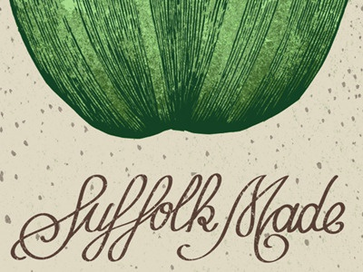 Suffolk Made illustration typography design art poster marrow green cream banging