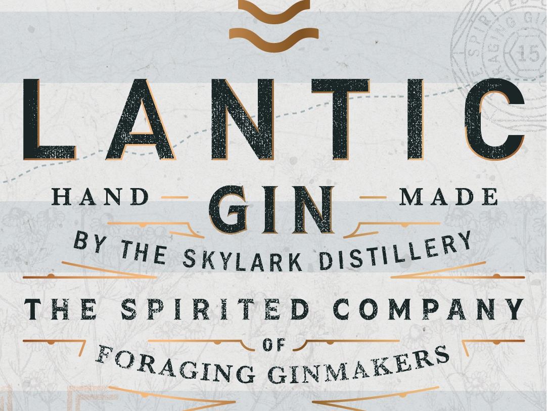Lantic Gin distilled craftspirits wip art poster logo bourbon spirit branding gin distillery label black and white whiskey print packaging typography packaging design illustration design