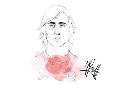 Johan Cruyff giveaway portrait print poser soccer illustration drawing cruijff cruyff