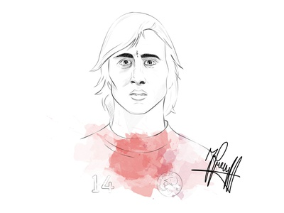 Johan Cruyff giveaway portrait print poser soccer illustration drawing cruijff cruyff