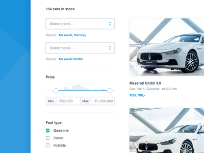 Cars website minimal clean interface ui web design listing filter cars