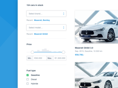 Cars website minimal clean interface ui web design listing filter cars