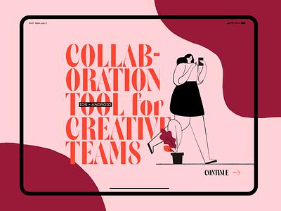 Emotional direction • Collaboration App 🤝 walkthrough dashboard ux ui creative team collaboration emotional design colorful website ipad android ios app branding emotional