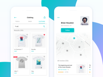 Shopping Search Results & User Profile
