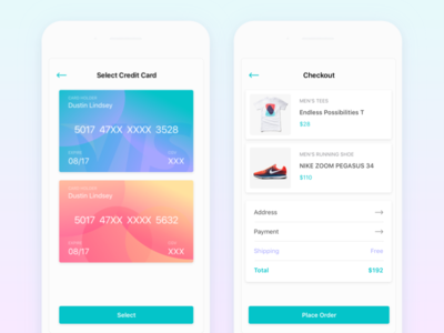 Checkout & Select Credit Card