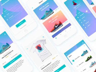 Shopping iOS App navigation gradient clean ecommerce ios product modern colors social shopping signup